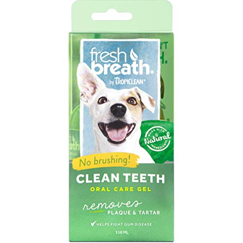 TropiClean Fresh Breath No Brushing Oral Care Gel for Pets – Made in USA – Removes Plaque & Tartar Without Brushing…