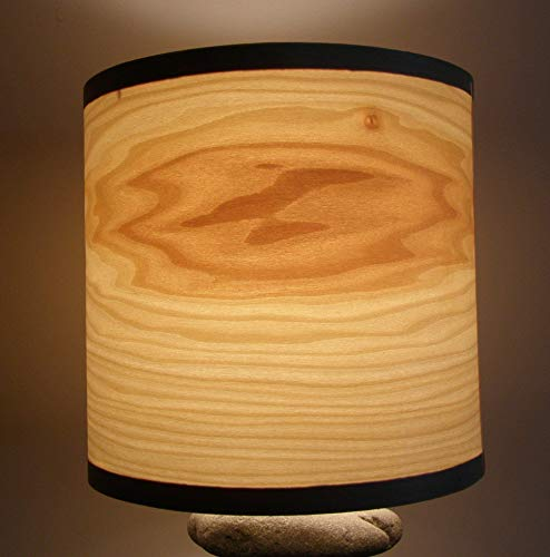 Real wood poplar veneer drum shade from Alaska Beachstone Lamps