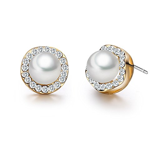 SBLING 18K Rose Gold Plated White Shell Pearl with Cubic Zirconia Halo Stud Earrings (7.5mm)