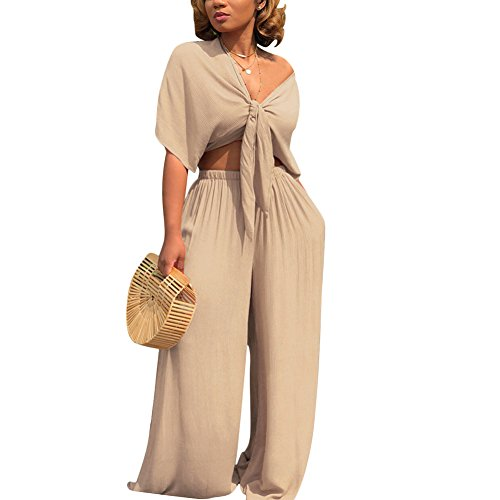 Womens Two Piece Outfits Front Tie Crop Top and Loose Wide Leg Bell Bottom Palazzo Pants Set Jumpsuit Apricot 2XL