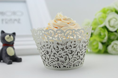 Finex® 100pcs *Flower* Wedding Cupcake Liner Wrappers Muffin Wrapper Paper Baking Party Decoration (Silver)