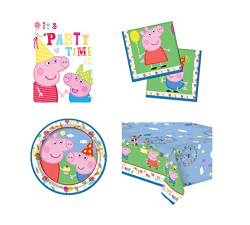 Peppa Pig & George Carnival Theme 4 Piece Party Set - Invite Cards, Plates, Napkins & Table Cover