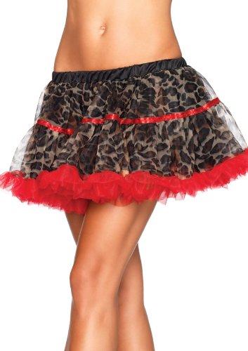 Leg Avenue Women's Leopard Print Tulle Petticoat With Contrast Solid Trim, Leopard, One Size Trim Leg Avenue