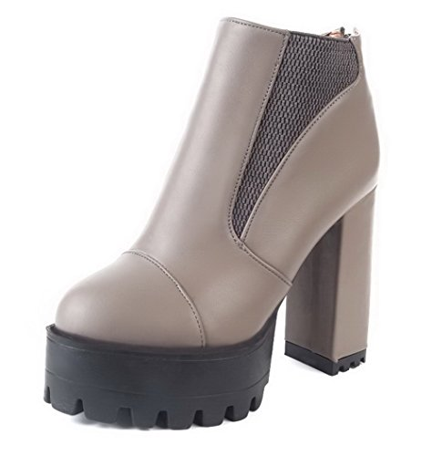 Round High Zipper Solid Closed Heels Women's Boots Material AgooLar Soft Gray Toe wzx6n