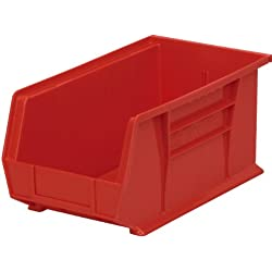 Akro-Mils 30234 Plastic Storage Stacking Hanging Akro Bin, 15-Inch by 5-Inch by 5-Inch, Red, Case of 12