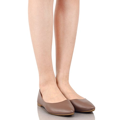 Guilty Slip On Ballet Pointy Classic Comfortable Shoes Flats Taupe Suede Womens Toe Casual 4Onpqg4x