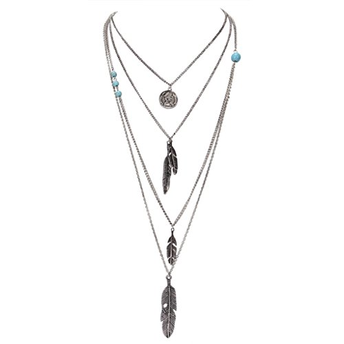 Sujarfla Women Multi-layer alloy Coin Feather Long Pendant (Long Feather)