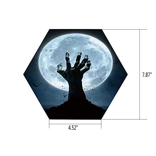 iPrint Hexagon Wall Sticker,Mural Decal,Halloween Decorations,Zombie Earth Soil Full Moon Bat Horror Story October Twilight Themed,Blue Black,for Home Decor 4.52x7.87 10 Pcs/Set