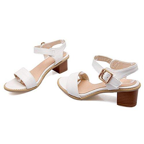 Sandalias para blanco planas mujer Match bajo All mujer SJJH con grueso con de All tacón sandalias aqpdcwE
