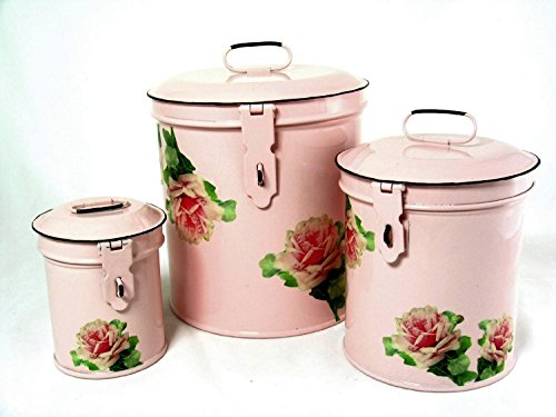 Retro Vintage Canister Set Kitchen Storage Canisters E8 Decorative Containers Shabby Chic Pink Enamel With Shabby Antique Rose