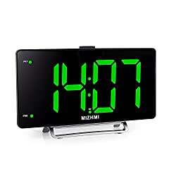 MIZHMI Alarm Clock with FM Radio, Dual Alarm, Nap/Sleep Timer, 3'' LED Dimmer 12/24 Hour Display with Dimming,Snooze Function, usb Charging (Black case & Green words (without radio))