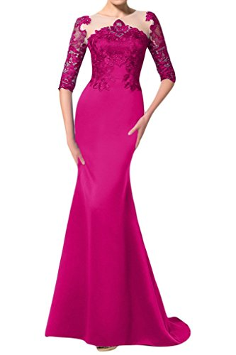 sunvary Mermaid Scoop Encaje appliques Satin Evening vestidos Homecoming fucsia