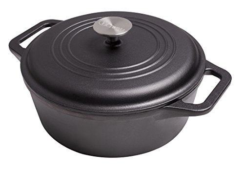 Victoria DUT-304 Seasoned Cast Iron Dutch Oven with Lid, Medium/4 quart, Black