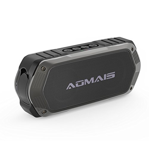 AOMAIS Tough Bluetooth Speakers, Portable Outdoor Wireless 10W Stereo Sound Speaker Waterproof IPX7 Rating with Enhanced Bass for iPhone, iPod, iPad, Tablets(Black) Image