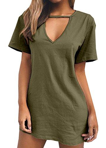 OUFour Donna Estate Vestito V Collo Manica Corta Abito da Spiaggia Sciolto T-Shirt Abiti di Colore Solido Mini Partito Vestiti Tunica