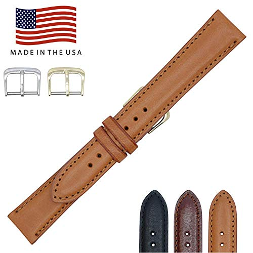17mm London Tan - Padded Stitched - English Bridle Leather - Watch Strap Band - Gold & Silver Buckles Included – Factory Direct - Made in USA by Real Leather Creations FBA96