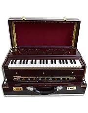 VRINDAVANBAZAAR.COM Deluxe Portable Harmonium, Dark Mahogany, 2 Reeds, 3.5 octaves