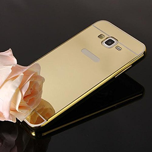 Samsung Galaxy J2 Hard Gold Metal Bumper with Acrylic Mirror Back Designer Cover Case by Premsons