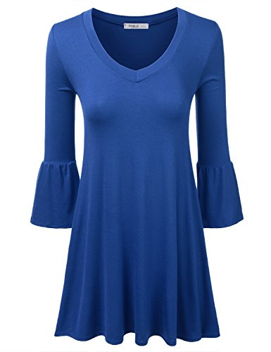 Doublju V Neck Loose Sleeve Flared