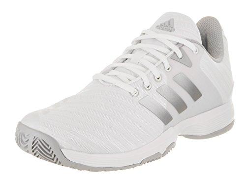 adidas Performance Women's Barricade Court w Tennis Shoe, White/Matte Silver/Grey Two, 8.5 M US