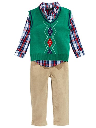 (Only Kids Infant Boys 3 Piece Dress Up Outfit Pants Shirt Green Sweater Vest 18m)