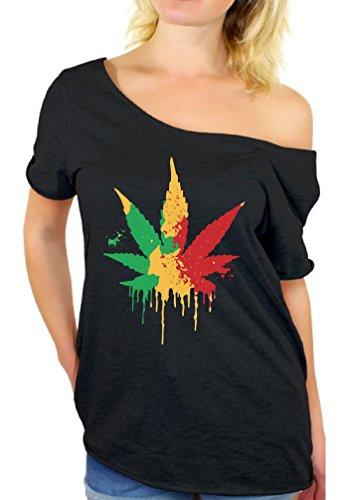 Awkward Styles Women's Rasta Leaf Off The Shoulder Tops for Women T Shirts Marijuana Leaf Pot Leaf Black (Rasta Clothing)