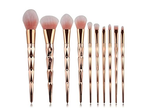 Hezon Ten Pcs Rose Gold Makeup Brush Set Professional Foundation Powder Cream Blush Brush Kits EASY TO USE by Hezon