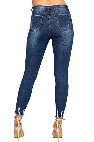 Maigre Afflig WearAll 34 Jeans Cheville Bleu Jambe 42 tendue Fermeture Jean Ripped Dames De Toile Femmes Poche clair xxSBqw0f