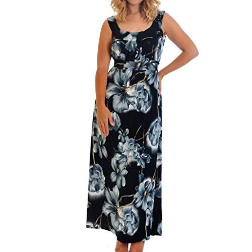 iLOOSKR Women Casual Plus Size Asymmetrical Floral Print Bandage Sleeveless Straight Backless Ankle-Length Dress Black