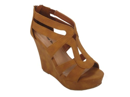 TOP Moda Women's Strappy Open Toe Platform Wedge TN 10 Tan ()