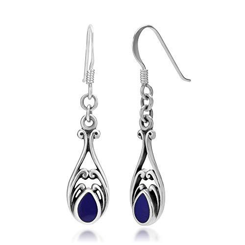 925 Sterling Silver Dangle Hook Earrings - Chuvora Jewelry - Blue Gemstone Filigree Blue Sterling Silver Earrings