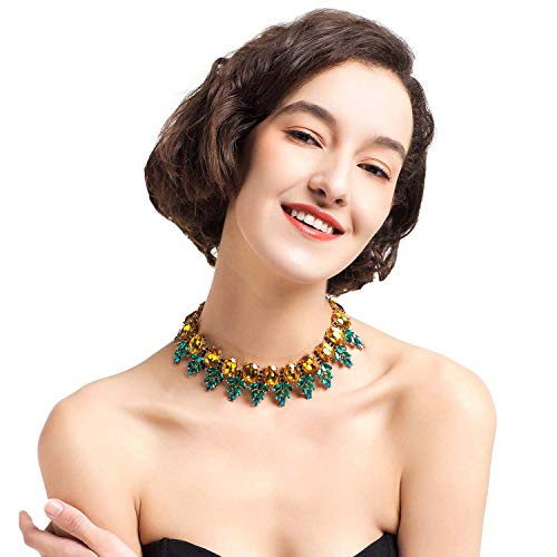 Holylove Pineapple Statement Necklace for Women Novelty Costume Jewelry Wedding Party Beach Yellow Green Glass Beads 1pc with Gift Box - ()