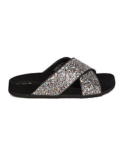 Betani Dames Confetti Glitter Voetbed Sandaal - Casual, Alledaagse Slijtage, Street Fashion - Cross Band Slipper - Gc11 By Multi