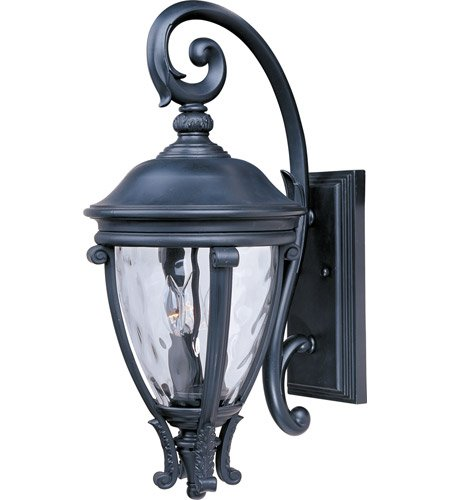 - Maxim Lighting 41425WGBK Three Light Water Glass Wall Lantern, Black