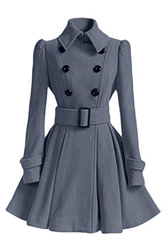 Gris Femme Double Ceinture Veste Longue Silm Trench Avec Uni Coat Fitted Hiver Manteau Chaud Blansdi Boutonnage BEnRxTqZq0