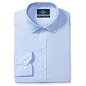Amazon Brand - BUTTONED DOWN Men's Tailored Fit Spread-Collar Solid Pinpoint Non-Iron Dress Shirt 20