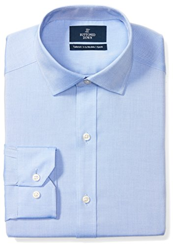 BUTTONED DOWN Men's Tailored Fit Spread-Collar Solid Non-Iron Dress Shirt (No Pocket), Blue, 18.5