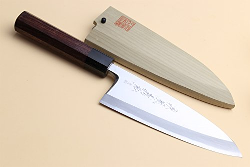 Yoshihiro Hongasumi Blue Steel #2 Deba fish fillet Chef Knife Shitan handle (7'' (180mm)) by Yoshihiro
