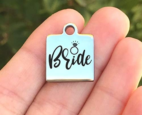 Bride Laser Charm - Wedding Stainless Steel Charm - Bride - Laser Engraved - Made To Order - Silver Tone - Quantity Options - ZF623
