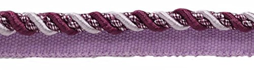 10 Yard Value Pack of Medium 4/16 Dusty Mauve, Dark Plum, Noblesse Collection Lip Cord Style# 0416H Color Luscious Lavenders - 2927 (30 Ft/9 Meters)