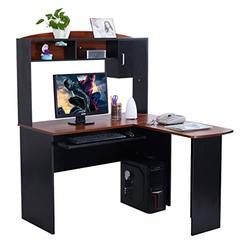 Tangkula L Shaped Desk Corner Home Office Computer Desk with Hutch (Black & Brown) by Tangkula