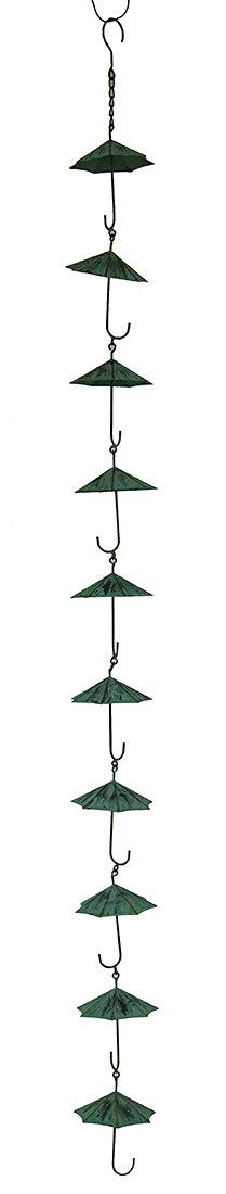 Zeckos Verdigris Finish Metal Umbrellas Rain Chain w/Attached Hanger 48 Inch