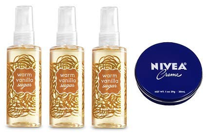 Bath and Body Works 3 Pack Warm Vanilla Sugar Travel Size Fine Fragrance Mist 3 Oz. Travel Size Cream 1 Oz.