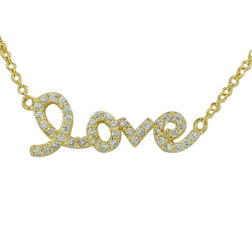 925 Sterling Silver Love Heart Charm Script White CZ Pendant Necklace