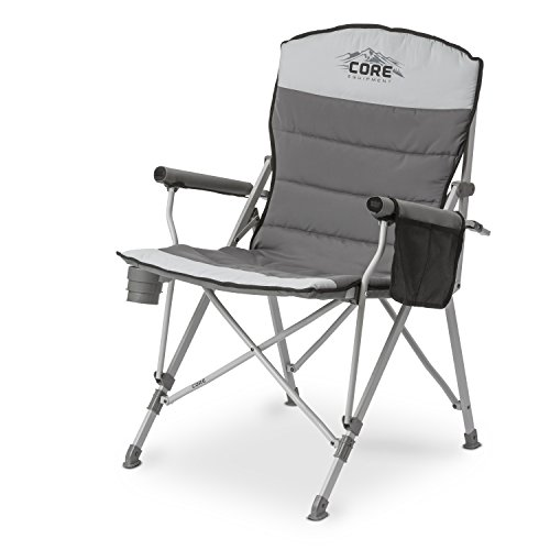 CORE Equipment Folding Padded Hard Arm Chair with Carry Bag, Gray - Folding Outdoor Chair