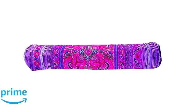 Amazon.com : Handmade Fabric Flower Yoga Mat Violet Bag ...