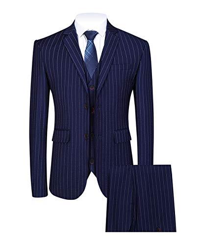 Mens 3 Piece Pinstripe Suit Slim Fit Casual Dress Suits Blazer + Vest + Pants US Size 36 (Asian Size XXL) Navy