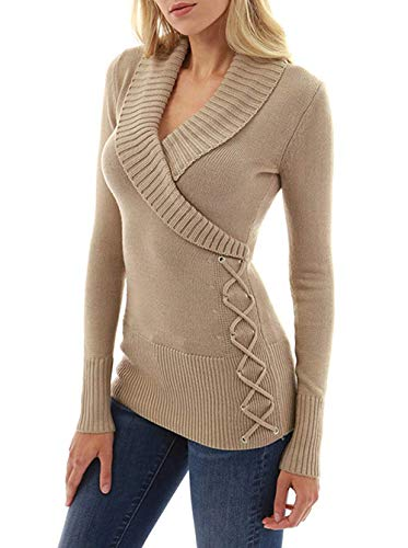 Collar Wrap Blouse - Asskdan Women's Slim V Neck Long Sleeve Sweater Shawl Collar Faux Wrap Tops T Shirt Lace Up Knit Pullover Blouse (Khaki, M)