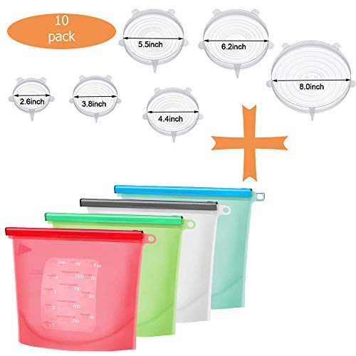 (Family Pack Reusable Eco-Friendly Silicone Stretch Lids + Silicone Food Storage Bags(10 Pack))