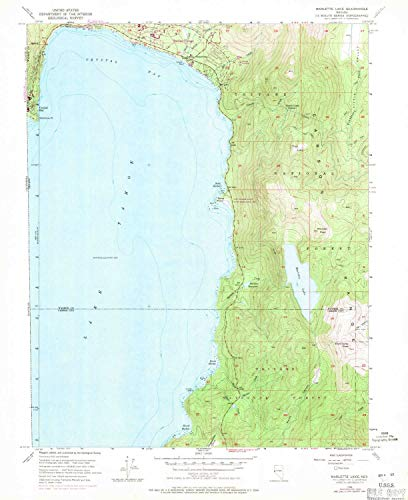 YellowMaps Marlette Lake NV topo map, 1:24000 Scale, 7.5 X 7.5 Minute, Historical, 1955, Updated 1971, 26.9 x 22 in - Polypropylene